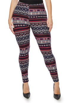 Plus Size Printed Soft Knit Leggings - 3969062909102