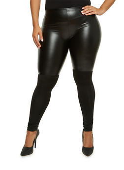 Plus Size Leggings in Faux Leather and Stretch Knit - 3969072310002