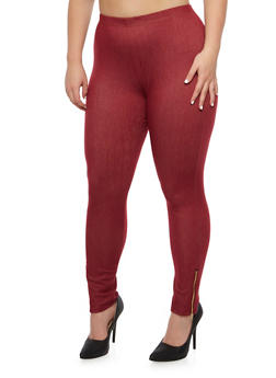Plus Size Jeggings with Zipper Ankles - 3969072310151