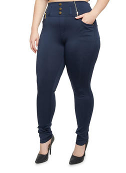 Plus Size High Waisted Jeggings with Zip Trim - 3969072710064