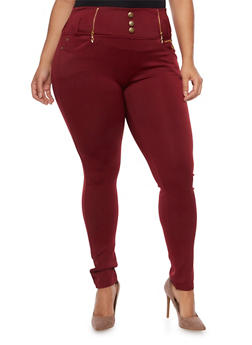 Plus Size High Waisted Jeggings with Zip Trim - BURGUNDY - 3969072710064
