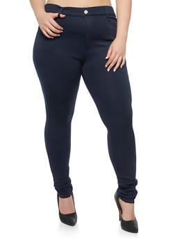 Plus Size Knit Pants with Stud Accents - 3969072716763