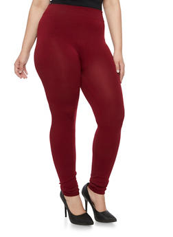 Plus Size Solid Stretch Leggings - 3969072890328