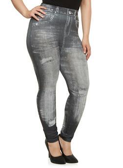 Plus Size Leggings in Denim Print - 3969072896068