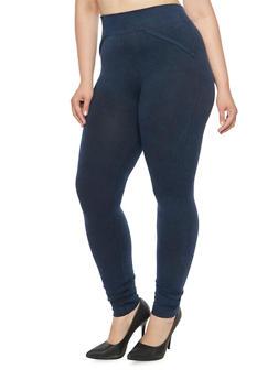 Plus Size Knit Denim Leggings - 3969072896074