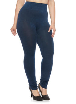 Plus Size Denim Knit Leggings - 3969072896075