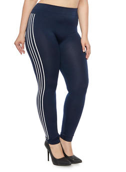Plus Size Fleece Lined Leggings with Side Stripes - 3969072896077