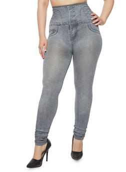 Plus Size High Waisted Jeggings - 3969072896081