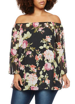 Plus Size Off The Shoulder Top in Floral Print - 3981058601234
