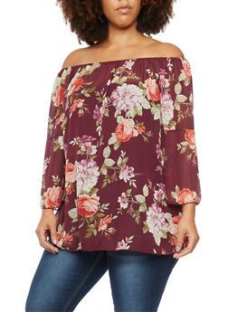 Plus Size Print Floral Off The Shoulder Top - 3981058601234
