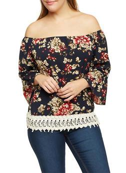 Plus Size Floral Off the Shoulder Top with Crochet Trim - 3982058601432