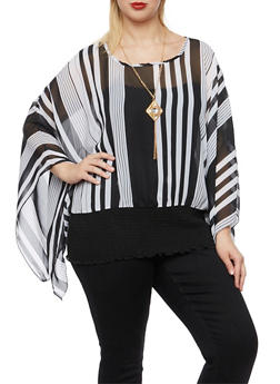 Plus Size Striped Top with Kimono Sleeves and Necklace - 3982058756375