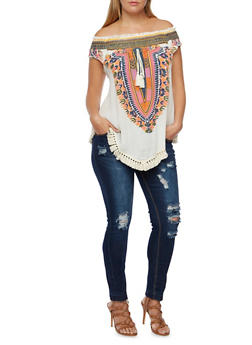 Plus Size Off the Shoulder Top with Dashiki Print - 3982058758205