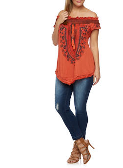 Plus Size Off the Shoulder Top with Dashiki Print - RUST - 3982058758205