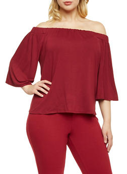Online Exclusive - Plus Size Off the Shoulder Flared Sleeves Top - 3984054212437
