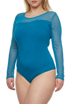 Plus Size Mesh Yoke Bodysuit - 3984054266961