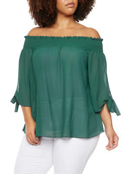 Plus Size Off The Shoulder Top with Fixed Tied Sleeves - 3984058601049