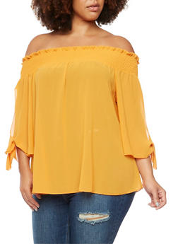 Plus Size Off The Shoulder Top with Fixed Tied Sleeves - NEW GOLD - 3984058601049