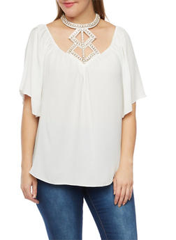 Plus Size Textural Top with Crystal Halter Neck - WHITE - 3984058601347