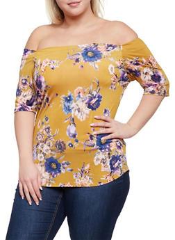 Plus Size Off the Shoulder Floral Print Top - 3984058601381