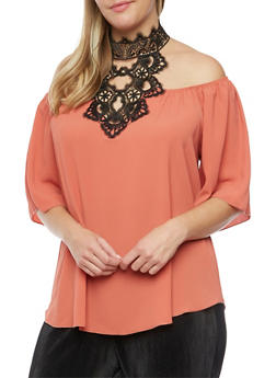 Online Exclusive - Plus Size Off the Shoulder Top with Lace Halter Neck - 3984058601390