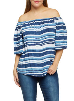 Plus Size Off The Shoulder Top in Varied Stripes - 3984058601410
