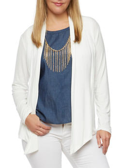 Plus Size Cardigan with Pleated Front - 3984062706133