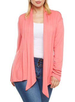 Plus Size Cardigan with Pleated From - 3984062706133