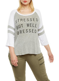 Plus Size Knit Baseball Top with Stressed But Well Dressed Graphic - 3984062706412