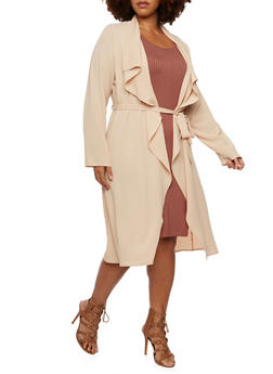 Plus Size Long Sleeve Belted Duster - 3984062709854