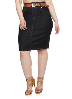 Plus Size Denim Pencil Skirt with Woven Belt - 3988064461156