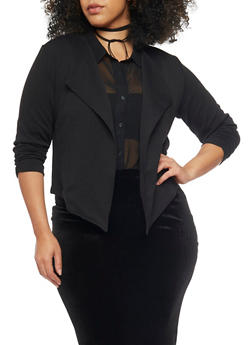 Online Exclusive - Plus Size Cropped Open Front Blazer with Zip Back - BLACK - 3989068198121