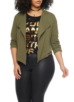 Online Exclusive - Plus Size Cropped Open Front Blazer with Zip Back - OLIVE - 3989068198121