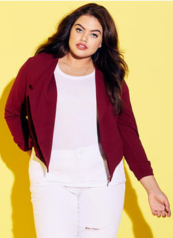 Online Exclusive - Plus Size Cropped Open Front Blazer with Zip Back - 3989068198121