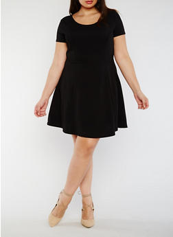 Plus Size Textured Knit Skater Dress - BLACK - 3990054266574