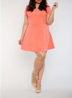 Plus Size Textured Knit Skater Dress - 3990054266574