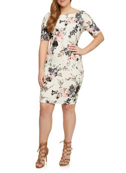 Plus Size Short Sleeve Mini Dress with Floral Print - 3990058600230