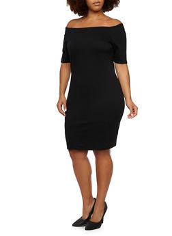 Plus Size Off The Shoulder Midi Dress - BLACK - 3990058605012