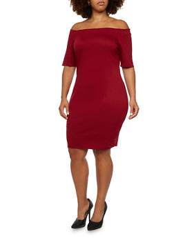 Plus Size Off The Shoulder Midi Dress - GARNET - 3990058605012