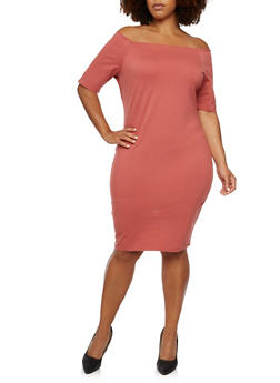 Plus Size Off The Shoulder Midi Dress - 3990058605012