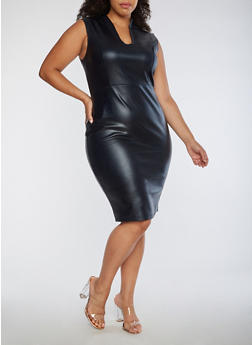 Plus Size Faux Leather Dress - 3990068514204