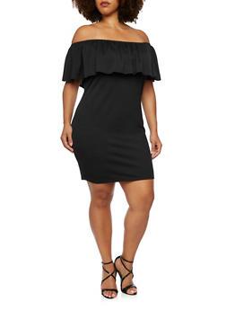 Plus Size Off the Shoulder Mini Dress - 3990069551278