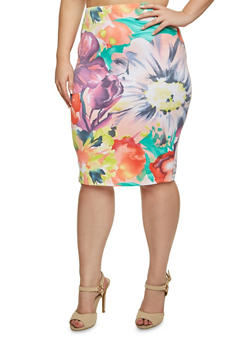 Plus Size Floral Knit Pencil Skirt - PINK - 3991020629783