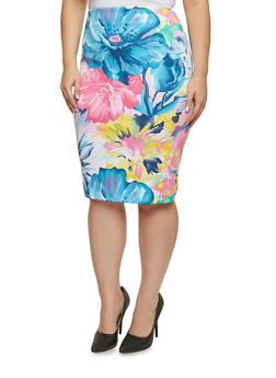 Plus Size Floral Knit Pencil Skirt - BLUE - 3991020629783