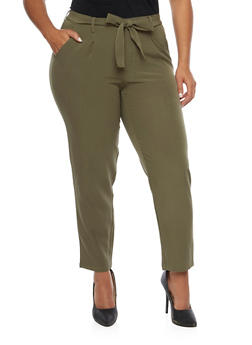 Plus Size Pants with Tie Waist - OLIVE - 3991056572170