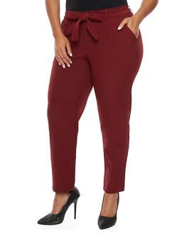 Plus Size Pants with Tie Waist - 3991056572170