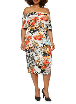 Plus Size Off The Shoulder Floral Top - 3991069556731