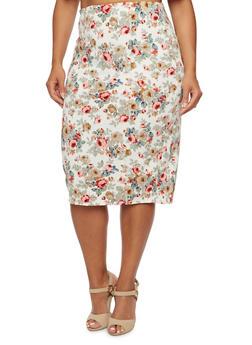Plus Size Floral Pencil Skirt - 3991069557732