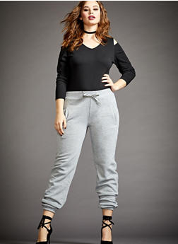 Plus Size Fleece Joggers with Pockets - 3991072291760
