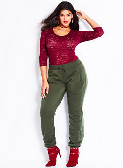Plus Size Fleece Joggers - 3991072291760